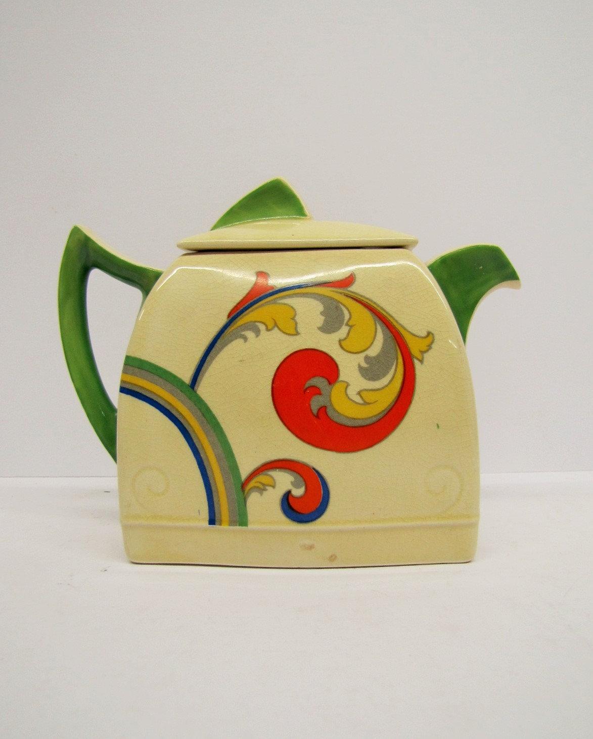 Royal Doulton Syren Teapot, Rare Art Deco Syren Duveen Design Tea Pot,  Pattern D5102 Art Deco Teapot, Burslem, England