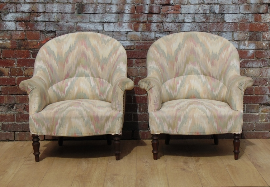 Pair 19c Crapaud Armchairs For Reupholstery photo 1
