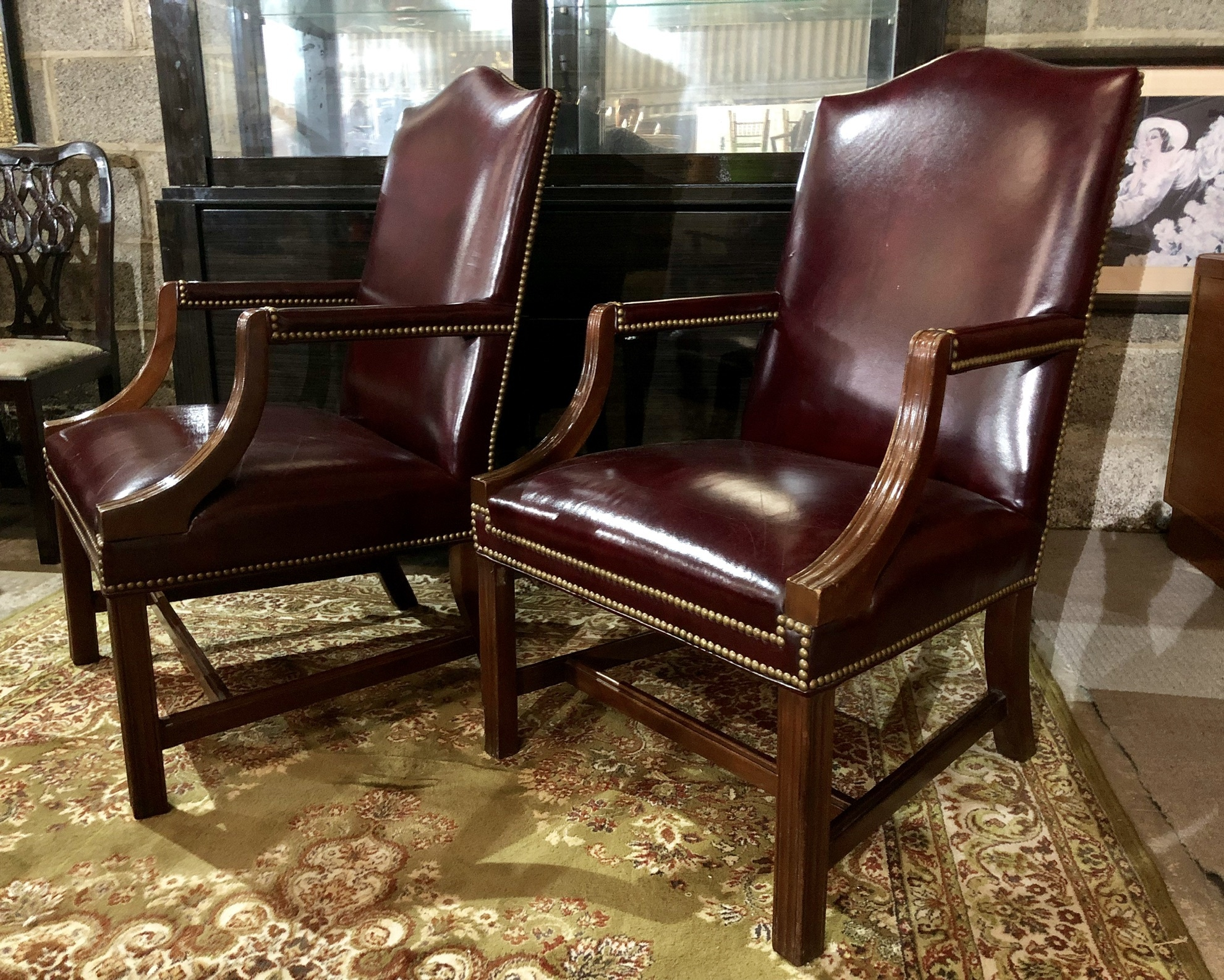 Miraculous Pair Of Elegant Hancock Moore Studded Leather Jefferson Side Armchairs Gmtry Best Dining Table And Chair Ideas Images Gmtryco