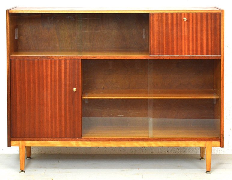 Mid Century 1960s Glass Display Bookcase/Cabinet photo 1