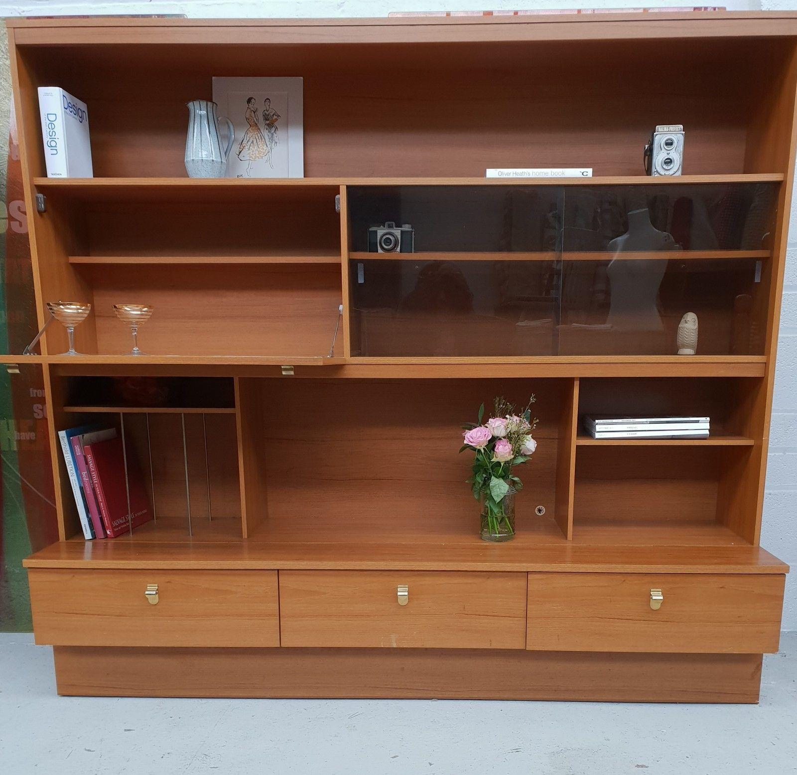 Schreiber Teak Veneer Wall Unit G Plan Style Sideboard Cabinet Century