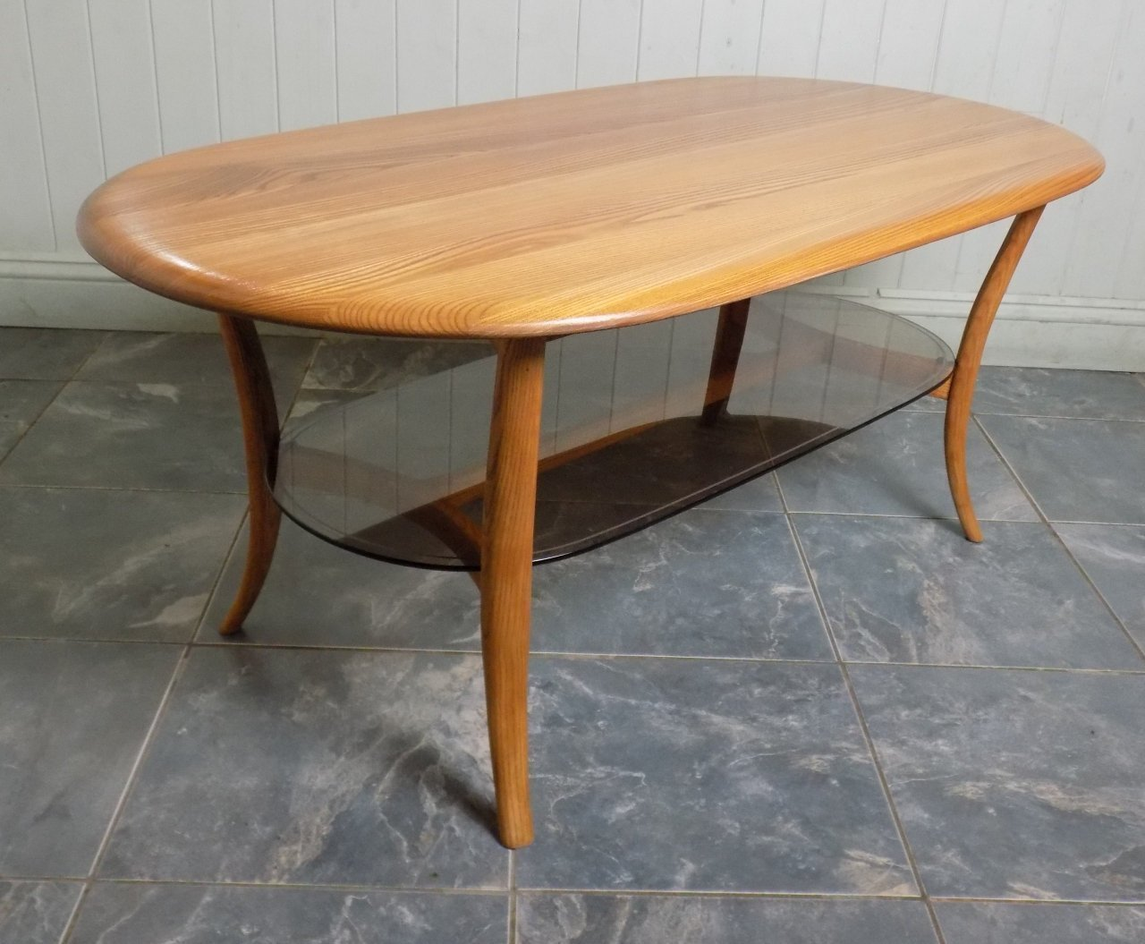 Ercol Coffee Or Side Table Oval With Glass Shelf