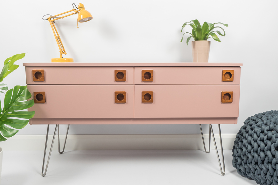 Mid Century Sideboard, Chest Of Drawers Storage, Painted Sulking Room Pink With Hairpin Legs