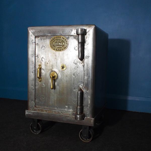 Vintage Stripped & Polished Safe On Bespoke Steel Trolley By Ratner, Circa 1900