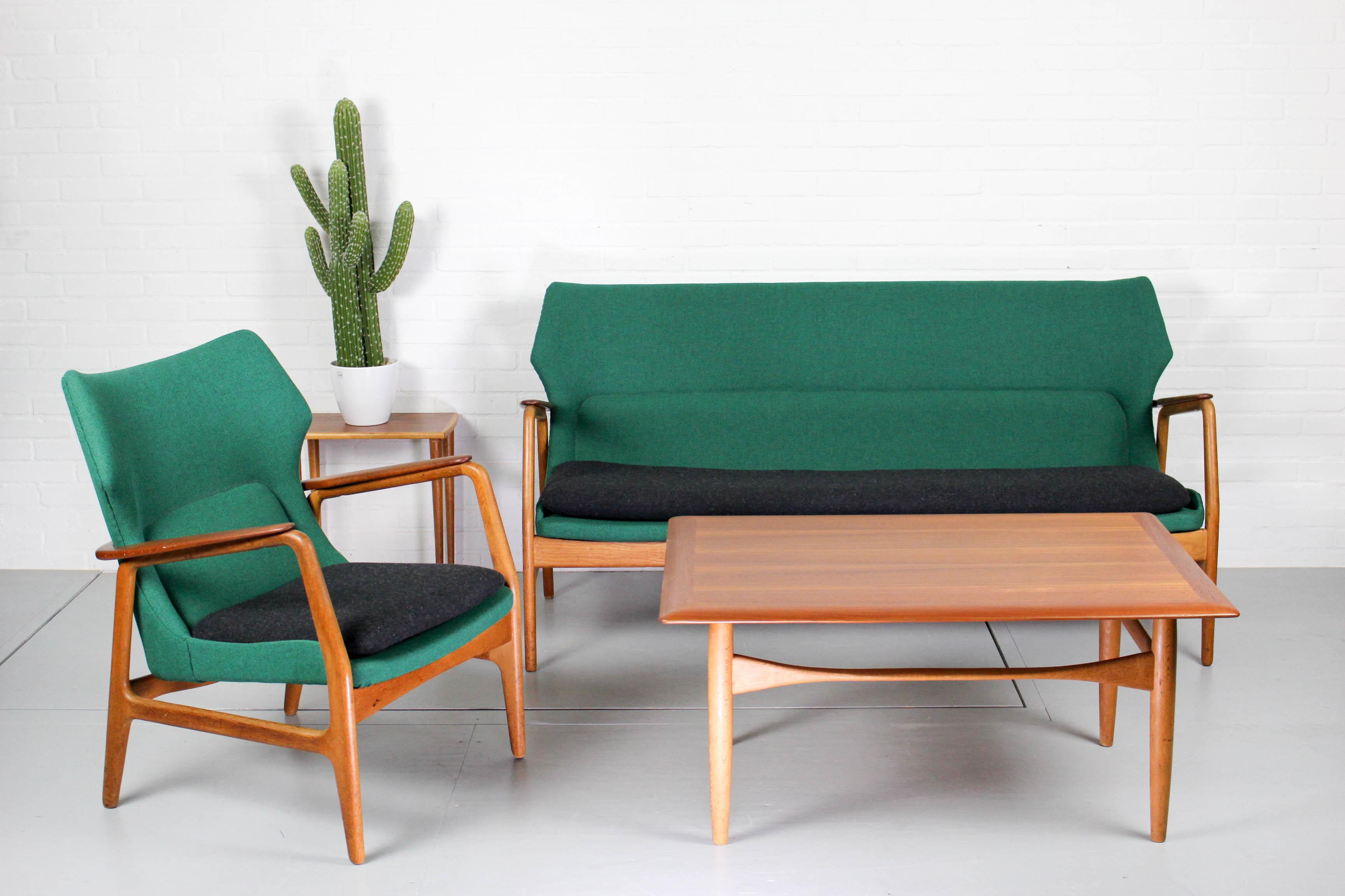 Mid Century Vintage Design Lounge Set Bovenkamp Sofa Tables Wingback Chair