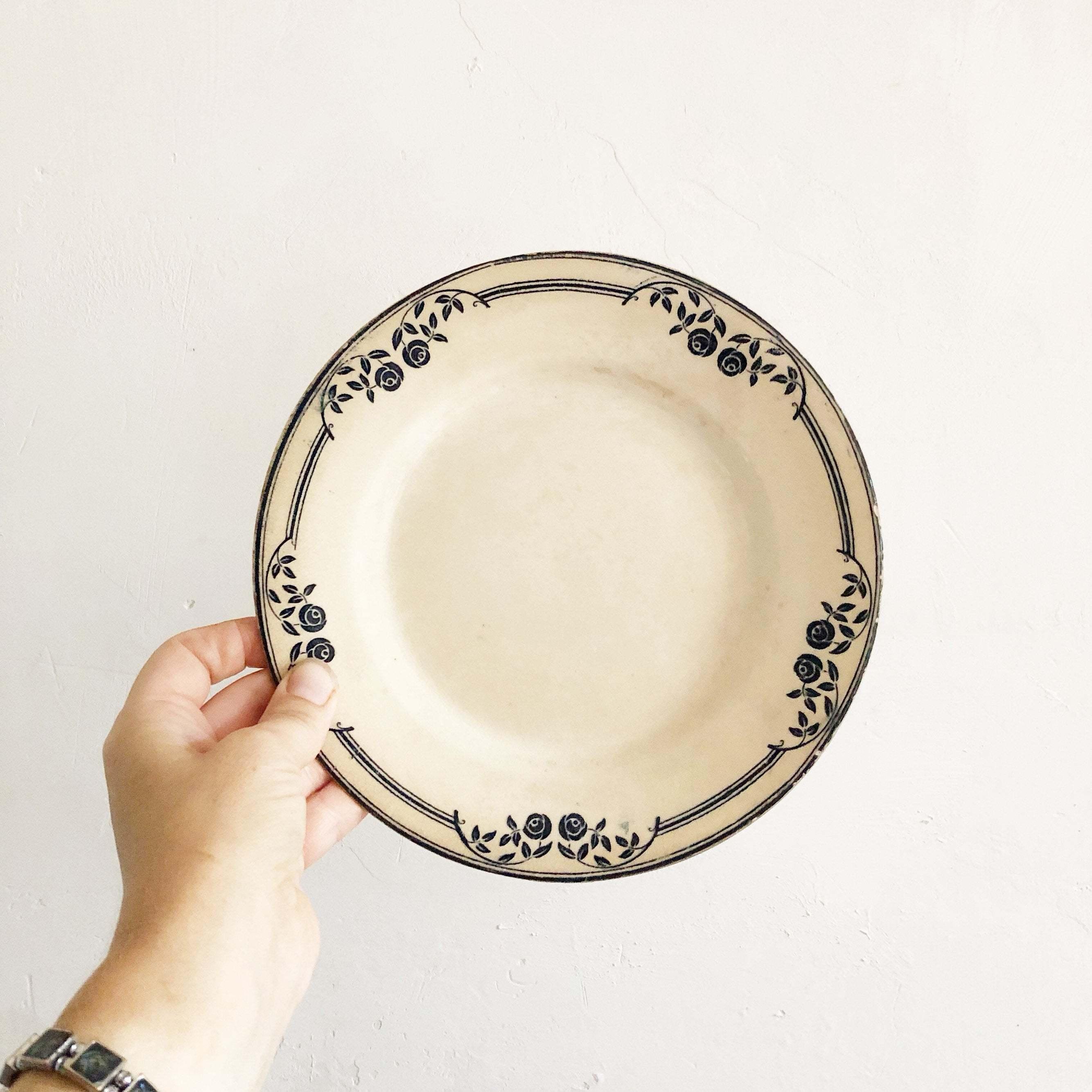 Vintage French Transferware  vintage bowl  vintage pottery  vintage ceramics  vintage crockery vintage earthenware