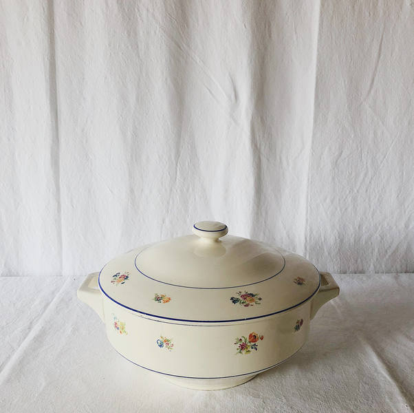 Vintage Floral French Porcelian Tureen / Creamware Bowl / Ceramic Oval Tureen / Serving Casserole Soup Dish / Rustic French Farmhouse Dining