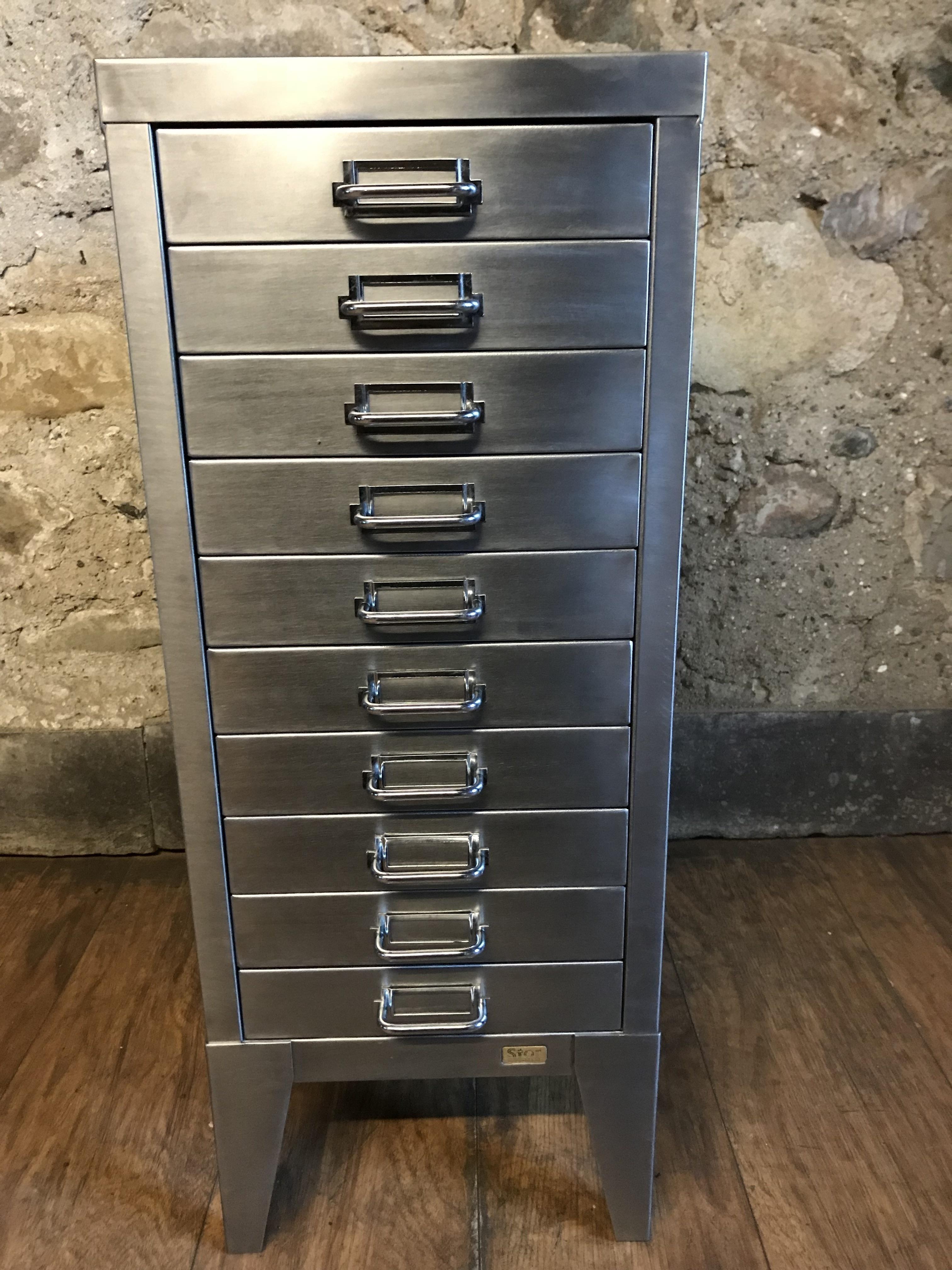 Picture of: Vintage Industrial Stripped Metal 10 Drawer Filing Cabinet Storage Vinterior