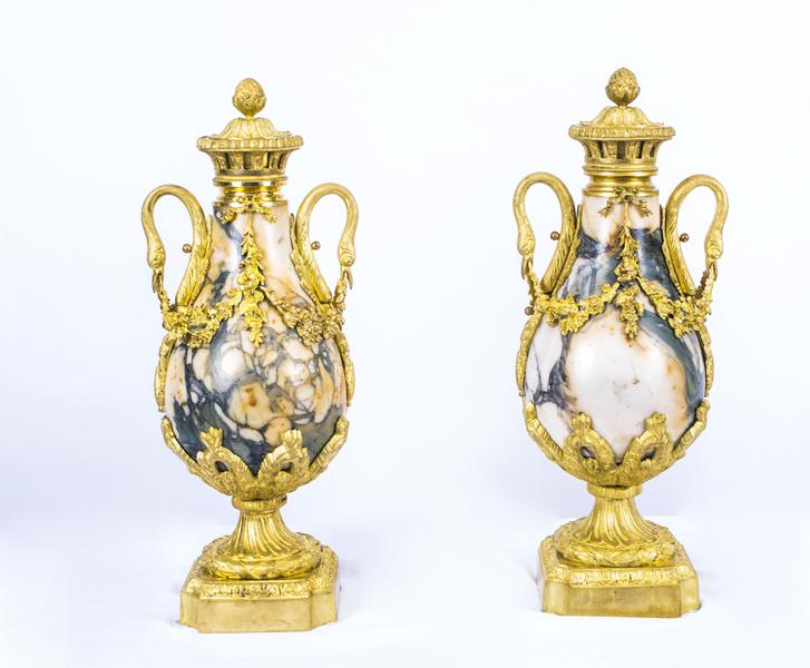 Antique Pair Louis Xv French Carrara Marble Urns C1870