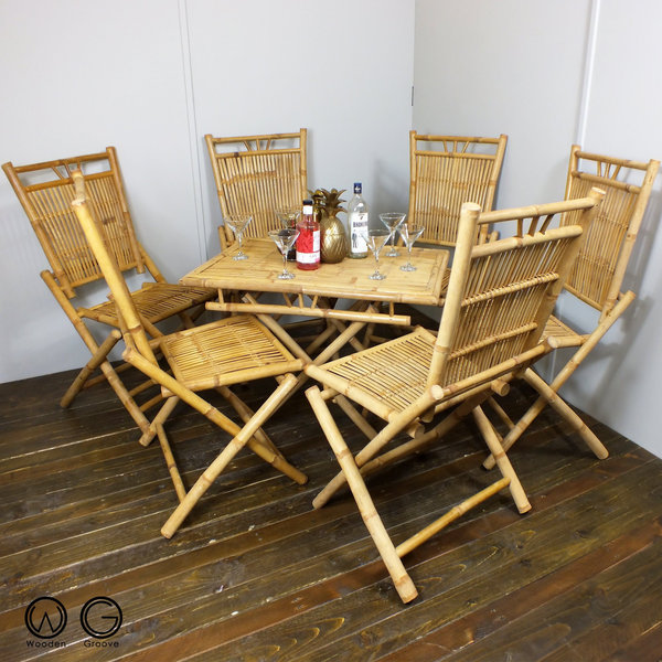 Incredible Mid Century Vintage Retro Tiki Boho Style Bohemian Bamboo Table And 6 Chairs 1960S 1970S Wicker Cane Download Free Architecture Designs Rallybritishbridgeorg