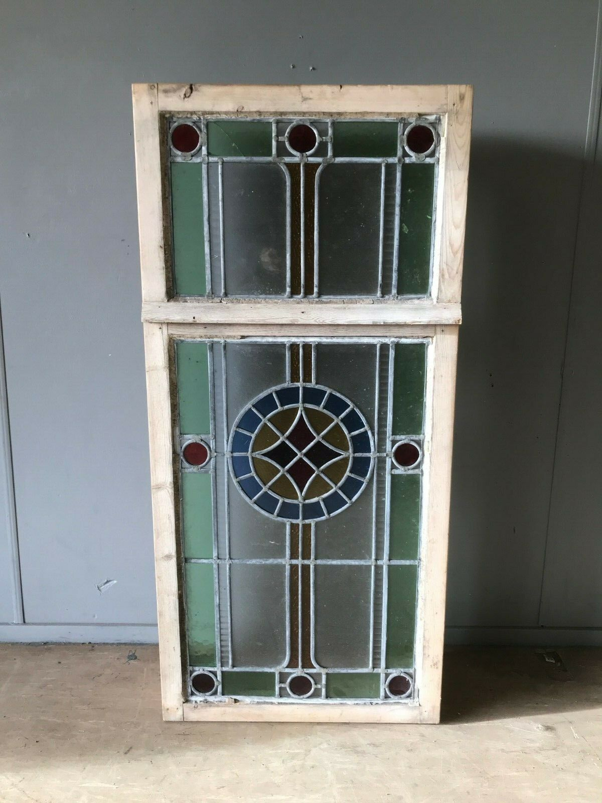 Late Victorian Antique Stained Glass Window Panel 113cm X 53cm In A Box Frame Gc Vinterior