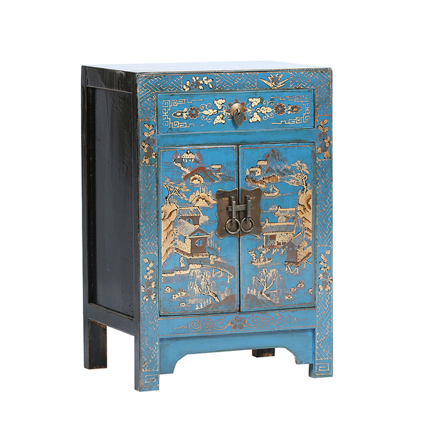 Blue And Black Chinese Bedside Cabinet With Gold Butterflies
