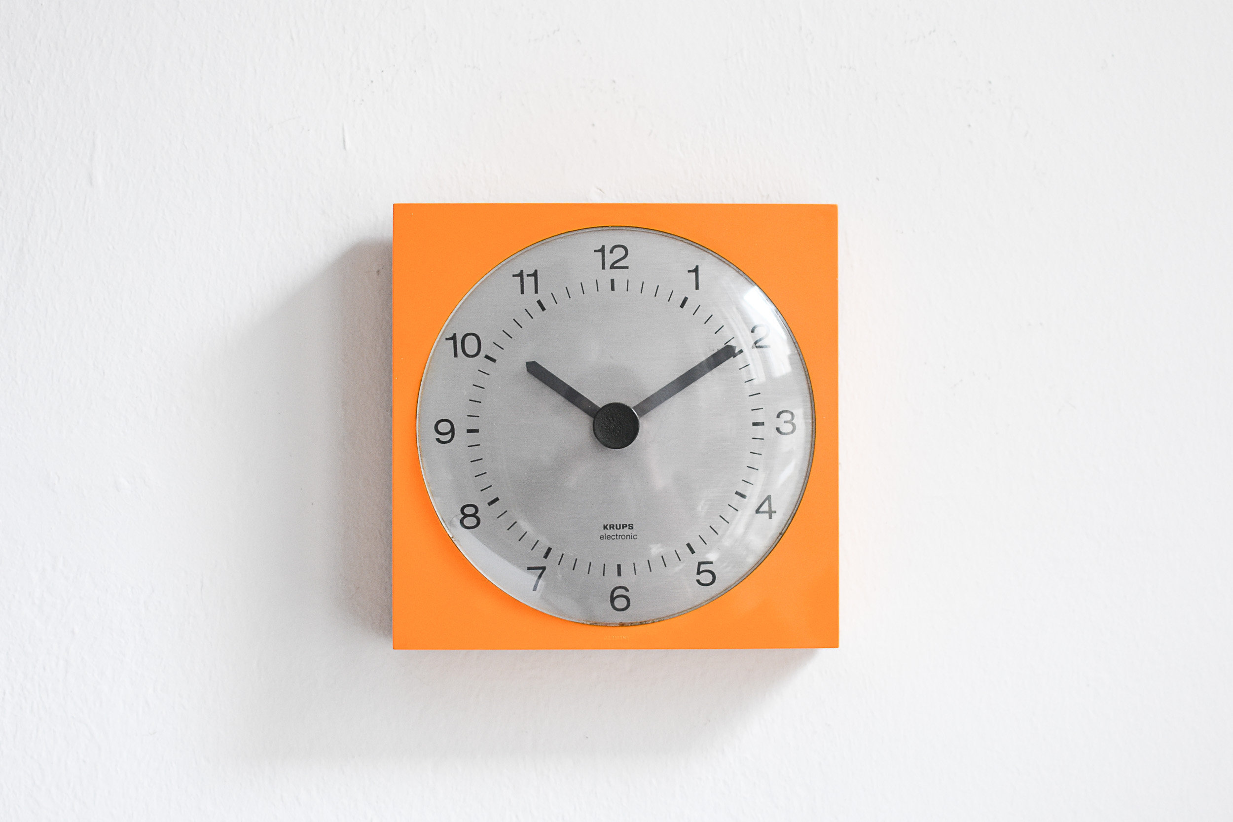 Orange Modern Wall Clock From Krups 1960s