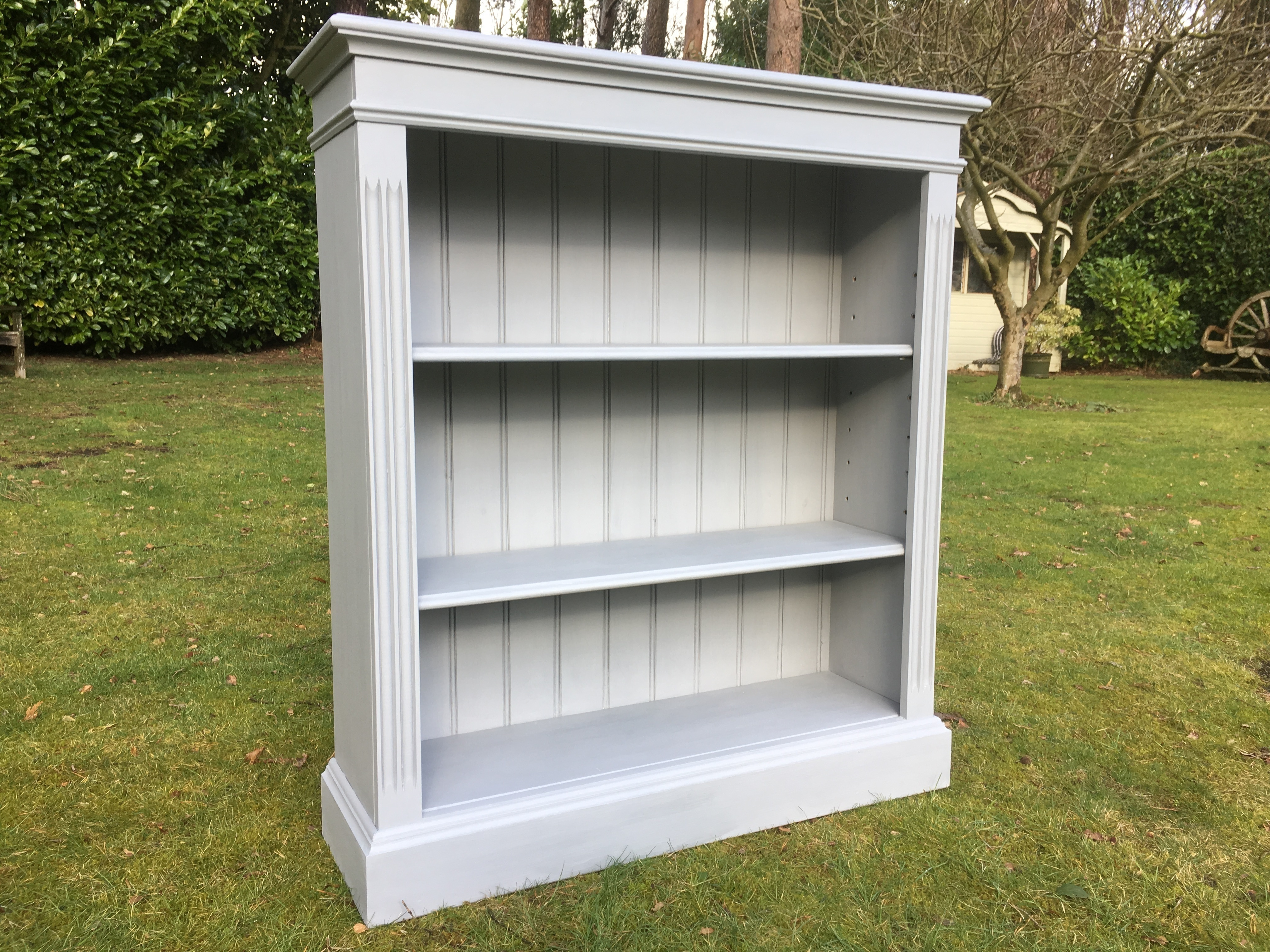 Hand Painted Solid Pine Bookcase In French Grey