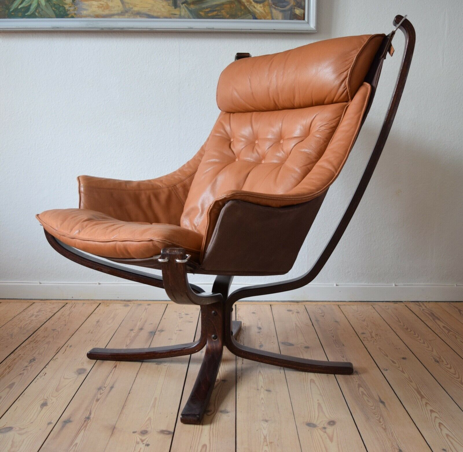 Sensational Mid Century Cognac Winged Falcon Chair By Sigurd Ressel For Vatne Mobler Gamerscity Chair Design For Home Gamerscityorg