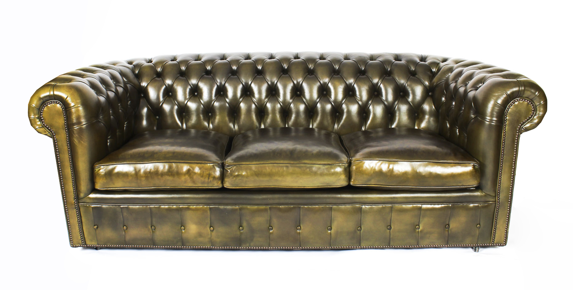 - Bespoke English Leather Chesterfield Sofa Bed Olive Green Vinterior