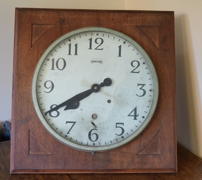 Large Factory Clock In Wooden Case