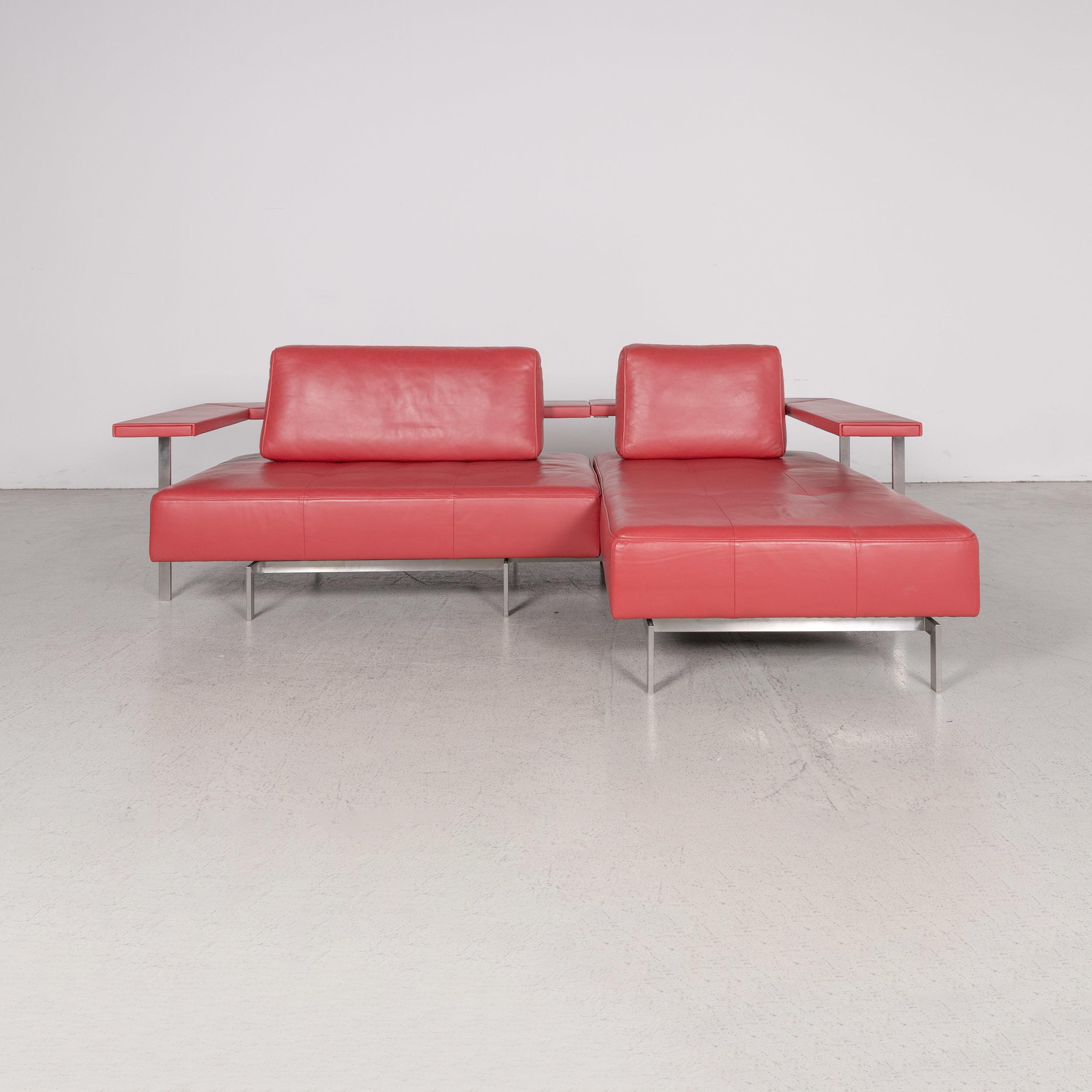 Rolf Benz Dono Designer Leather Sofa Red Corner Sofa Genuine Leather ...