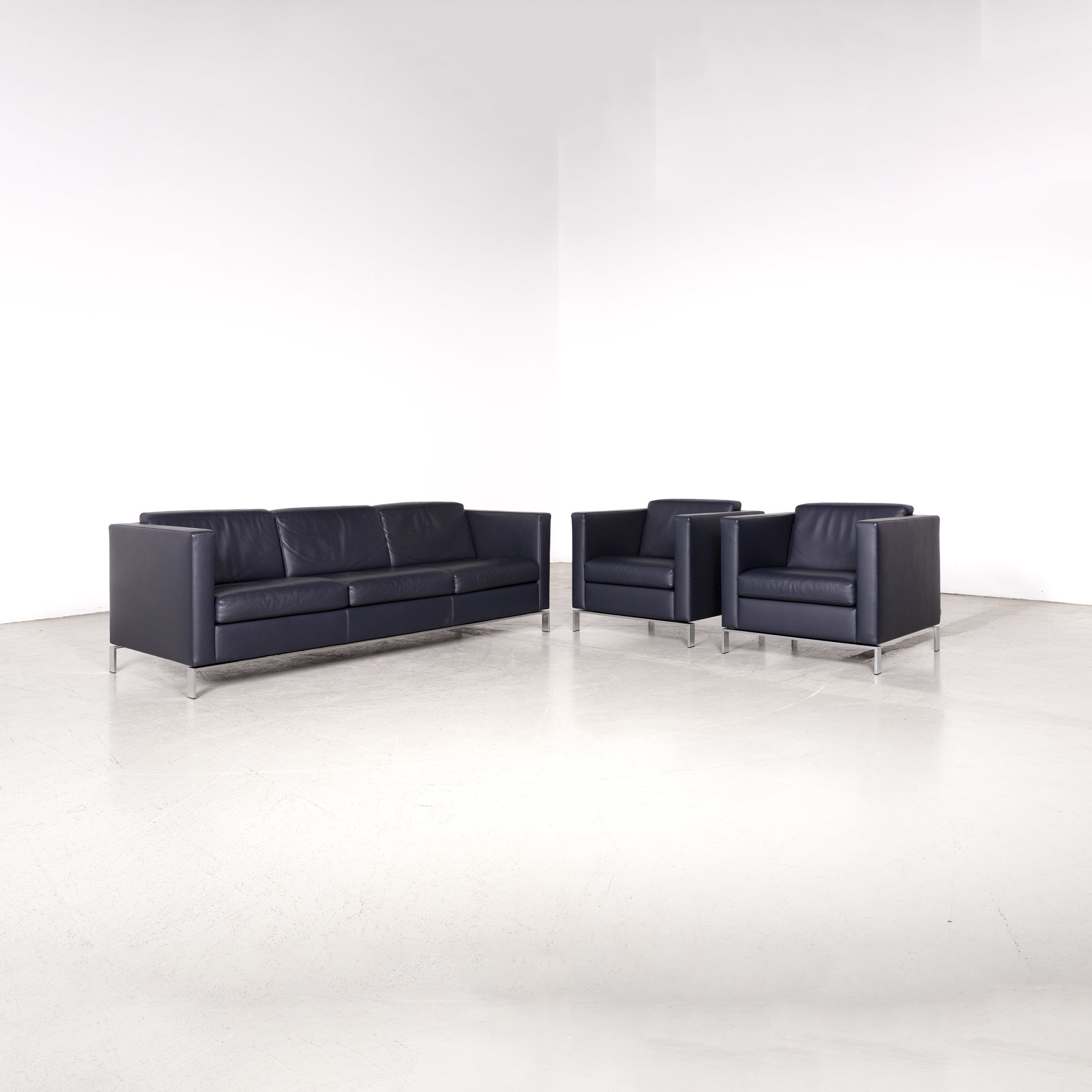 Fabulous Walter Knoll Foster Designer Leather Sofa Set Blue Three Seater Chair Genuine Leather Couch 8228 Bralicious Painted Fabric Chair Ideas Braliciousco