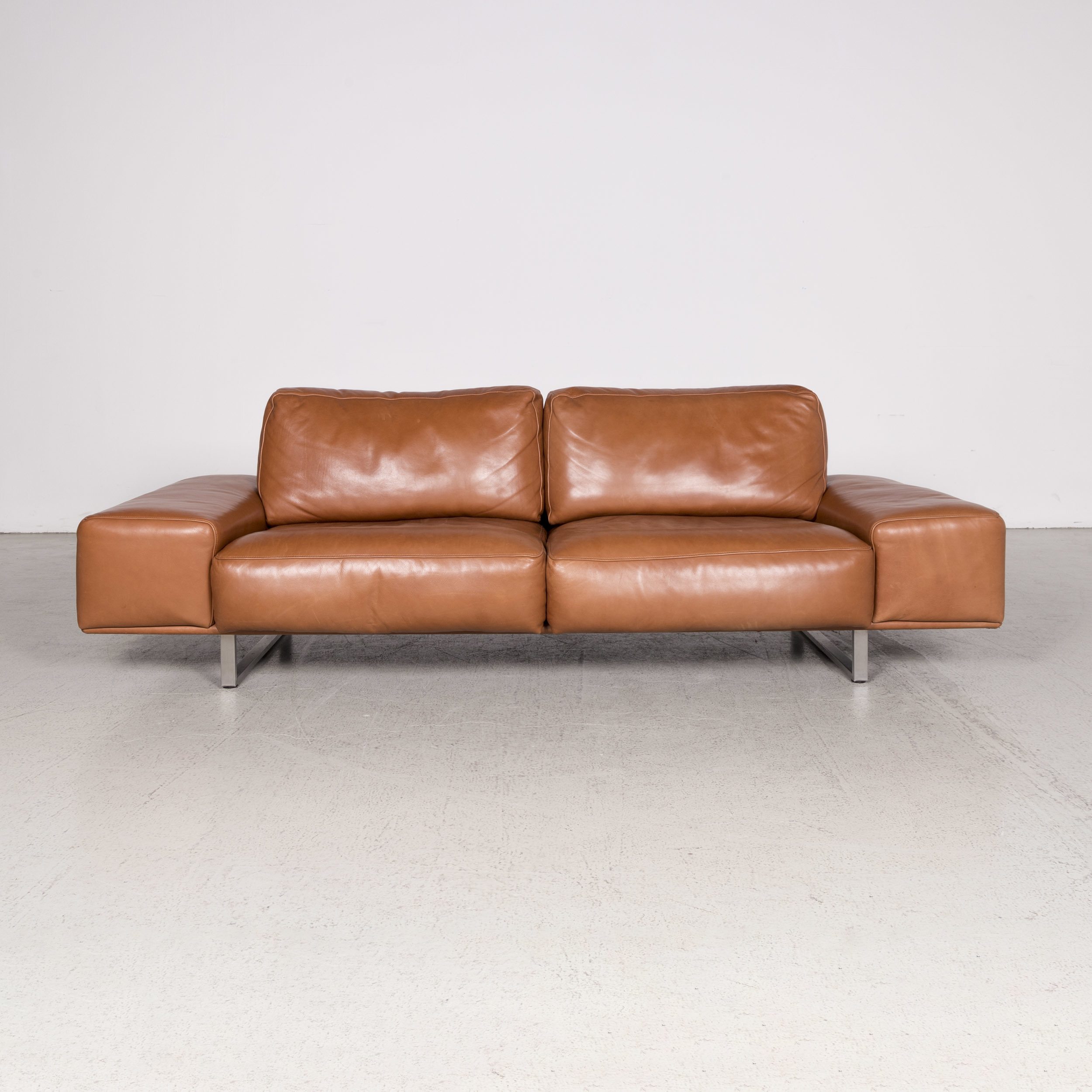Koinor Designer Leather Sofa Cognac Three Seater Genuine ...