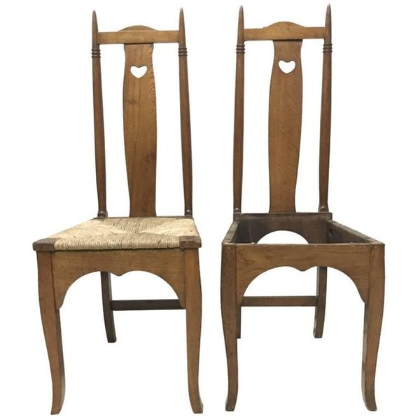 Shapland Petter A Pair Of Arts Crafts Oak Dining Chairs With Pierced Hearts Shapland Petter Vinterior