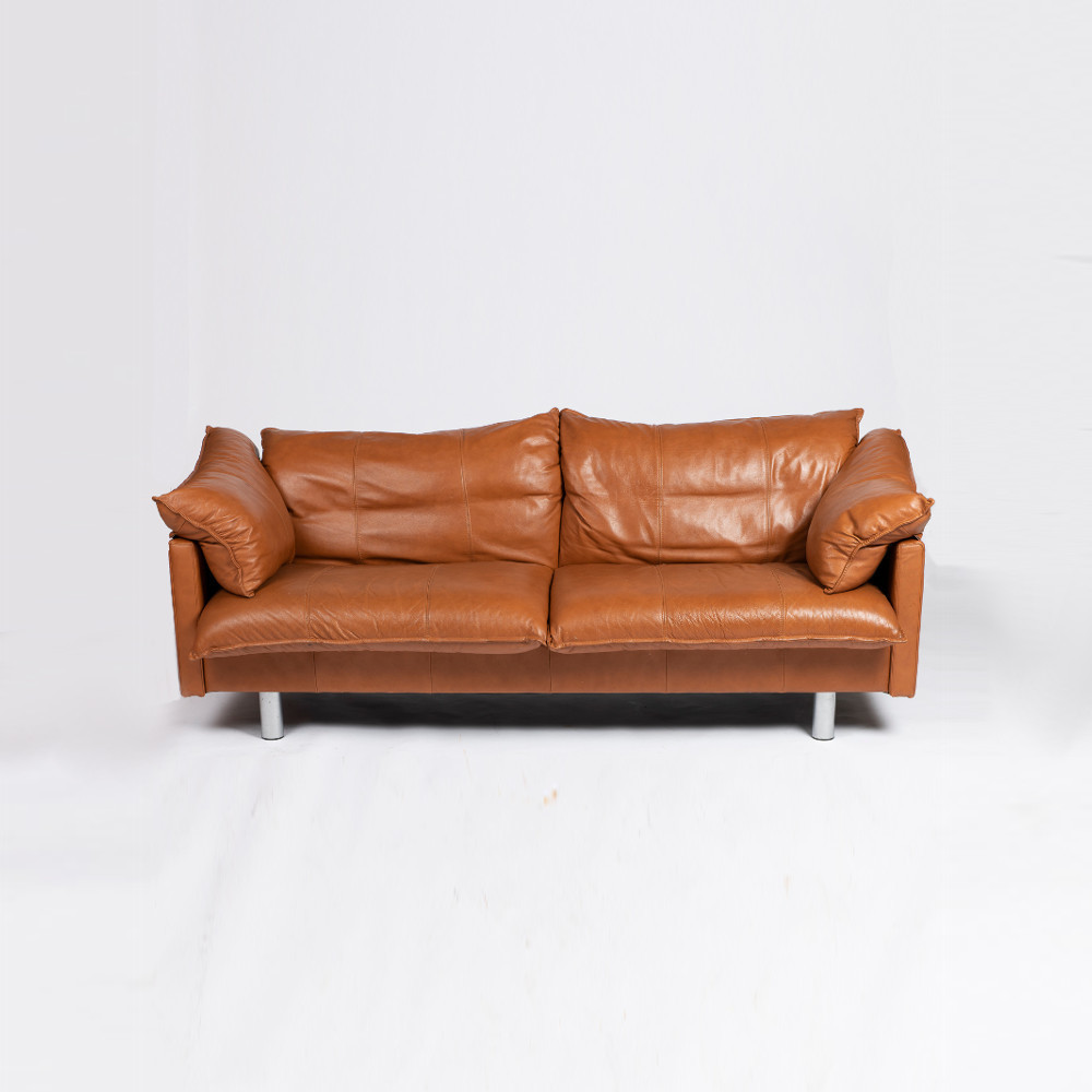 Tremendous Danish 2 5 Seat Leather And Chrome Sofa Onthecornerstone Fun Painted Chair Ideas Images Onthecornerstoneorg