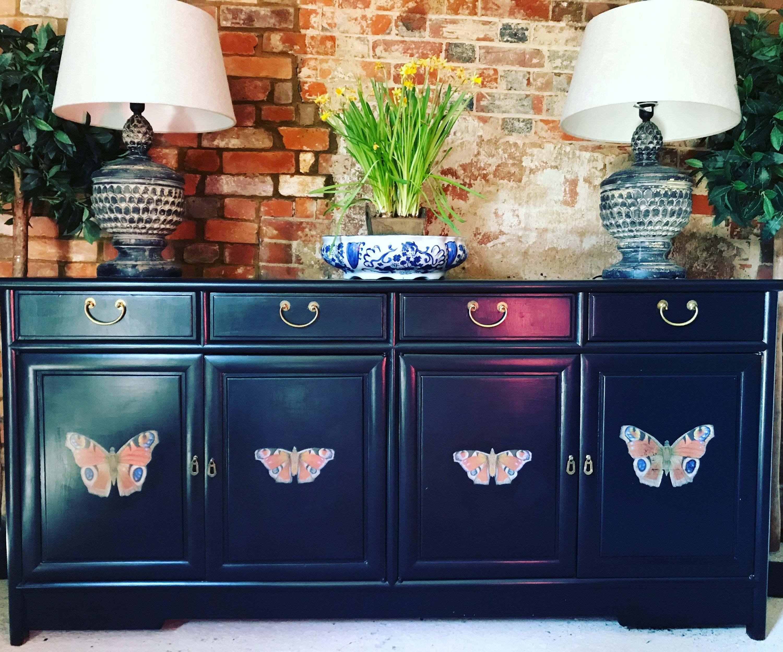 Picture of: Large Antique Black Sideboard Vintage Navy Blue Sideboard Credenza Buffet T V Cabinet Vinterior