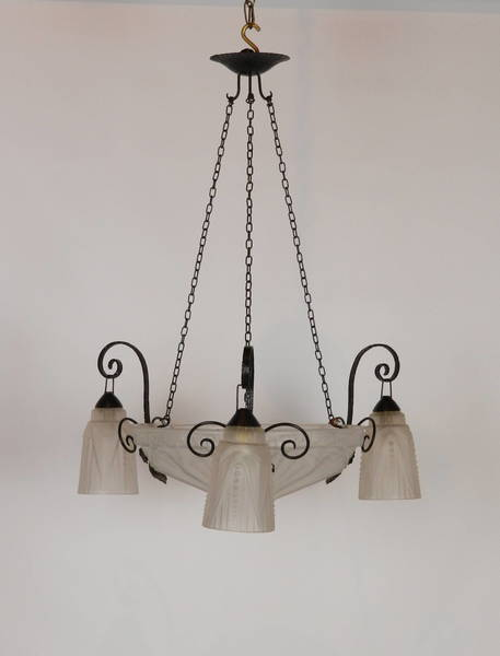 French Art Deco Ceiling Light Chandelier With Three Tulip Shades photo 1