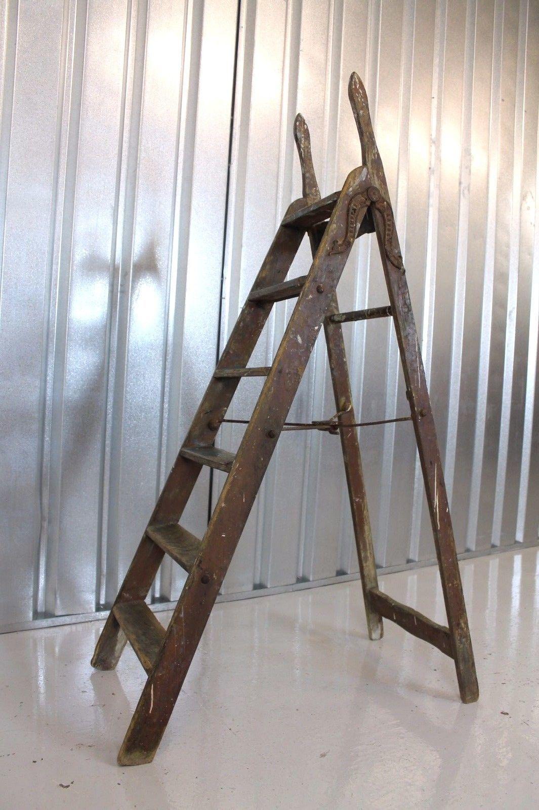Vintage Mid Century Industrial Simplex Wooden Ladders Retail Display Shop Vinterior