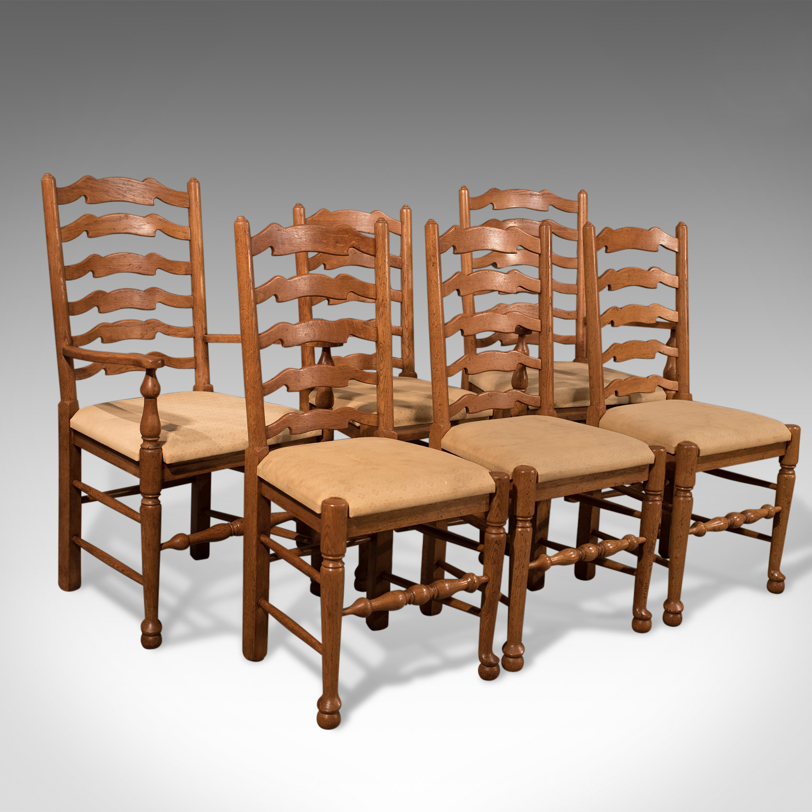 info for f791b db4e2 Antique Set 6 Inc Carvers Oak Ladder Back Kitchen Dining Chairs Lancashire  20th Century