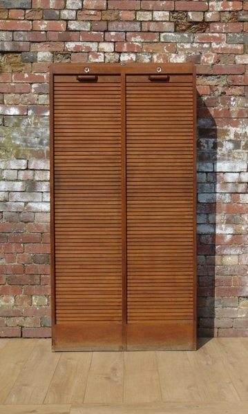 Double Industrial Tambour Front Cabinet