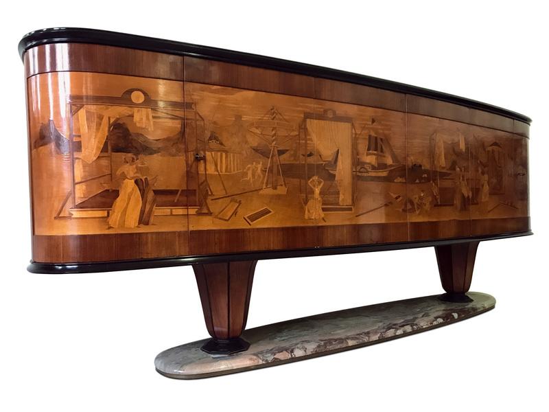 Italian Art Deco Sideboard Buffet By Vittorio Dassi With Big Inlaid Scene, 1940s