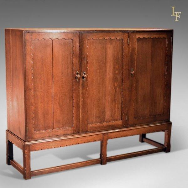 Arts & Crafts Oak Larder Cabinet, C.1900