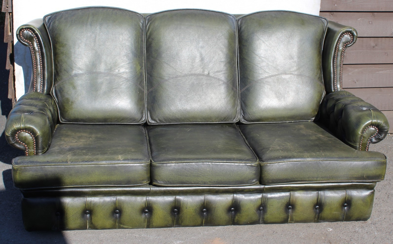 1960s High Back Green Leather 3 Seater Chesterfield Sofa