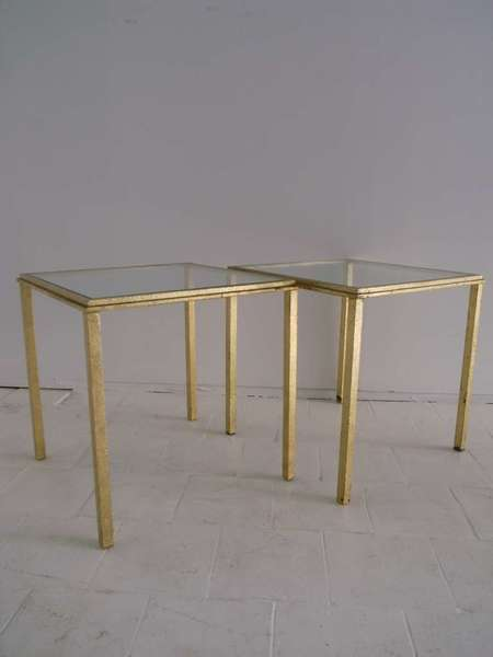 Pair Of Roger Thibier  Gold Leaf Side Table