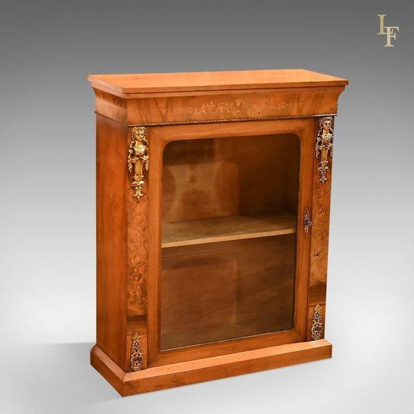 Victorian Burr Walnut Pier Cabinet, C.1850