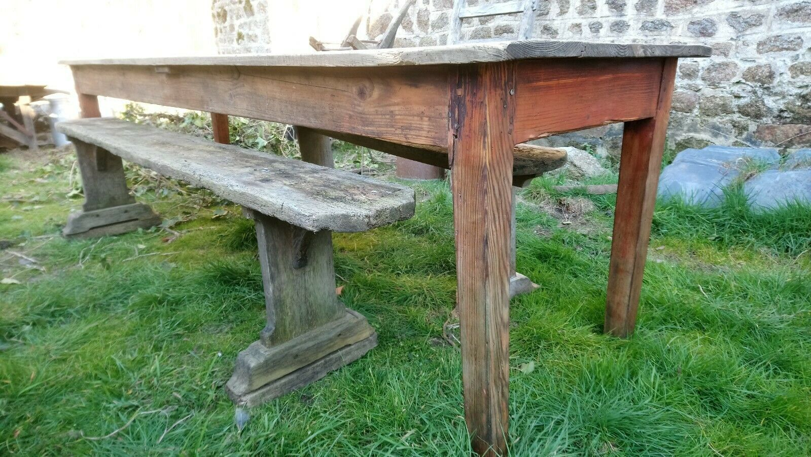French Antique Planked Scrub Top Long Kitchen Prep Or Dining Table Seats 8 10