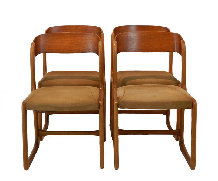 Stylish Set Of Four 1960's Dining Chairs