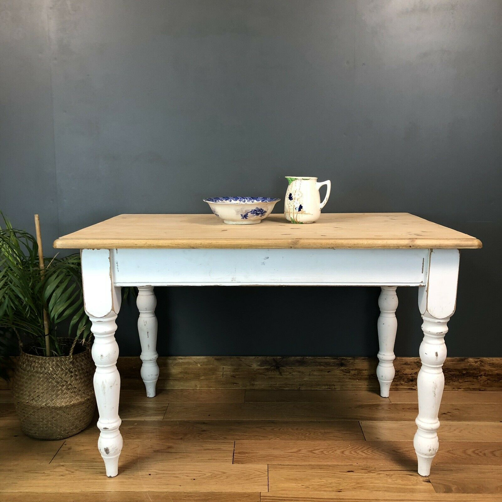 Rustic Painted Pine Table Farmhouse Country White Kitchen Dining