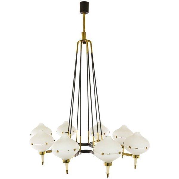 Chandelier by Stilnovo in metal, brass & glass, 1950s | #65841