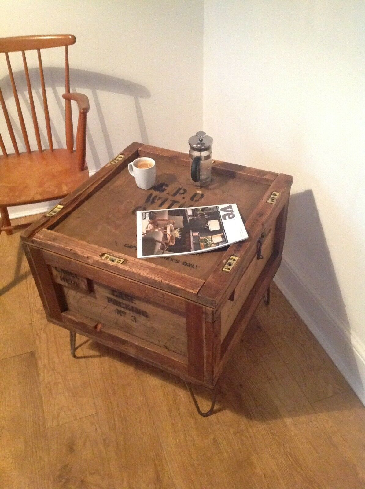Industrial Coffee Table Chest Gpo Packing Case Hairpin Legs