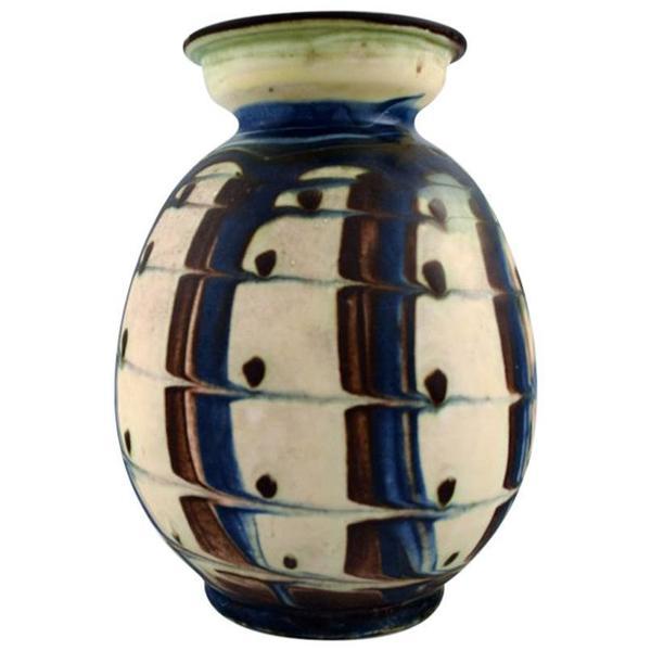 Kähler, Denmark, Glazed Stoneware Vase In Modern Design, 1930s 1940s