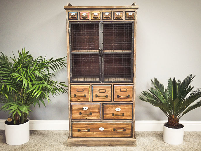Vintage Style Tall Storage Cabinet With Drawers Cupboards Apothecary Medicine