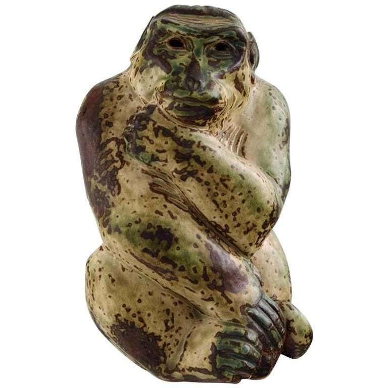 Royal Copenhagen Knud Kyhn Stoneware Figure Monkey with Young Sung Glaze # 20224