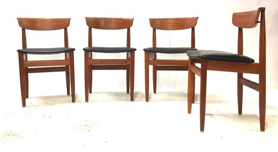 4 X Vintage Mid Century 1960s Solid Teak Danish Modernist Dining Chairs