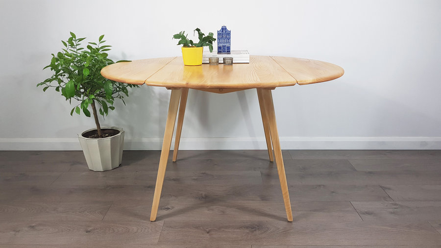 Marvelous Mid Century Drop Leaf Round Dining Table By Lucian Ercolani For Ercol Refinished Delivery Uk Europe Download Free Architecture Designs Pendunizatbritishbridgeorg