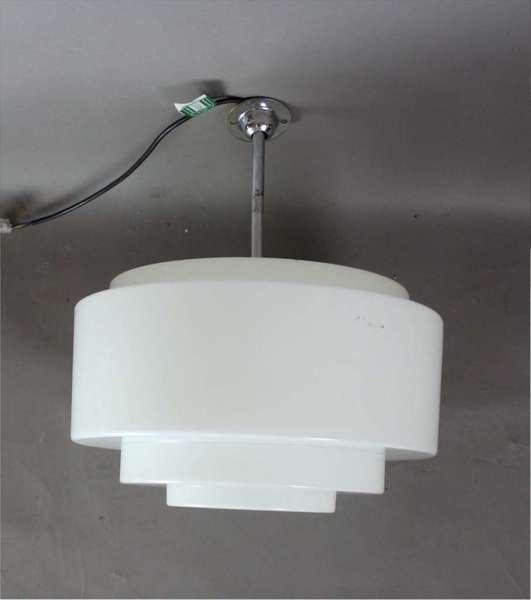 Art Deco Modernist Chrome And Stepped Opaline Lamp Shade 1 5