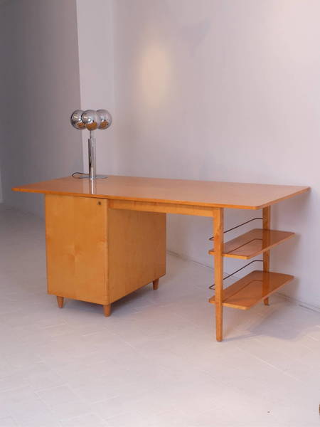Midcentury Imexcotra Double Sided Executive Birch Desk