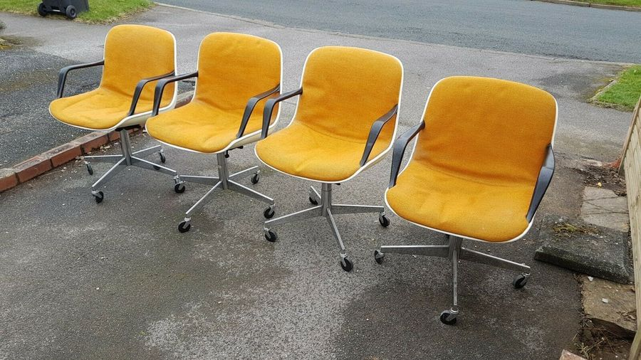 4 Charles Pollock Knoll Office Desk Chairs Chrome Vintage Retro Mid Century Mcm Vinterior