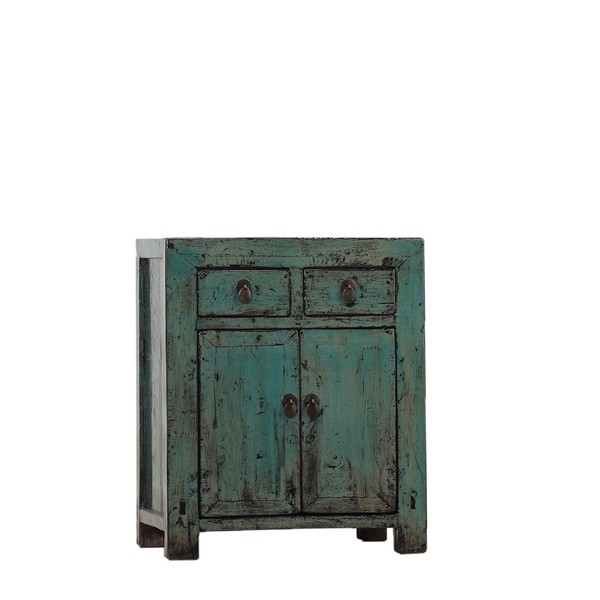 Chinese Cabinet Blue Lacquer Two Door Two Drawer C.1950